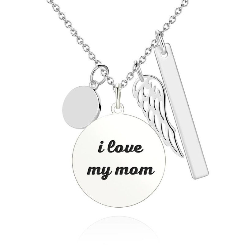 1 3 - Women's Photo Engraved Tag Necklace With Engraving Silver