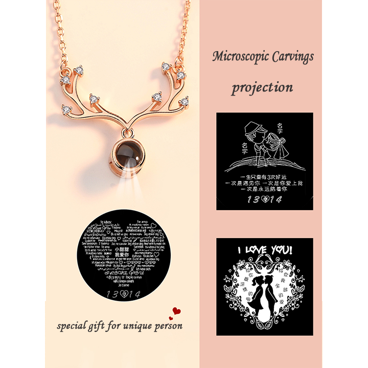 1027451544797 - Personalized Antler Projection Necklace & 100 Languages Photo