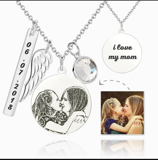 11 - Women's Photo Engraved Tag Necklace With Engraving Silver