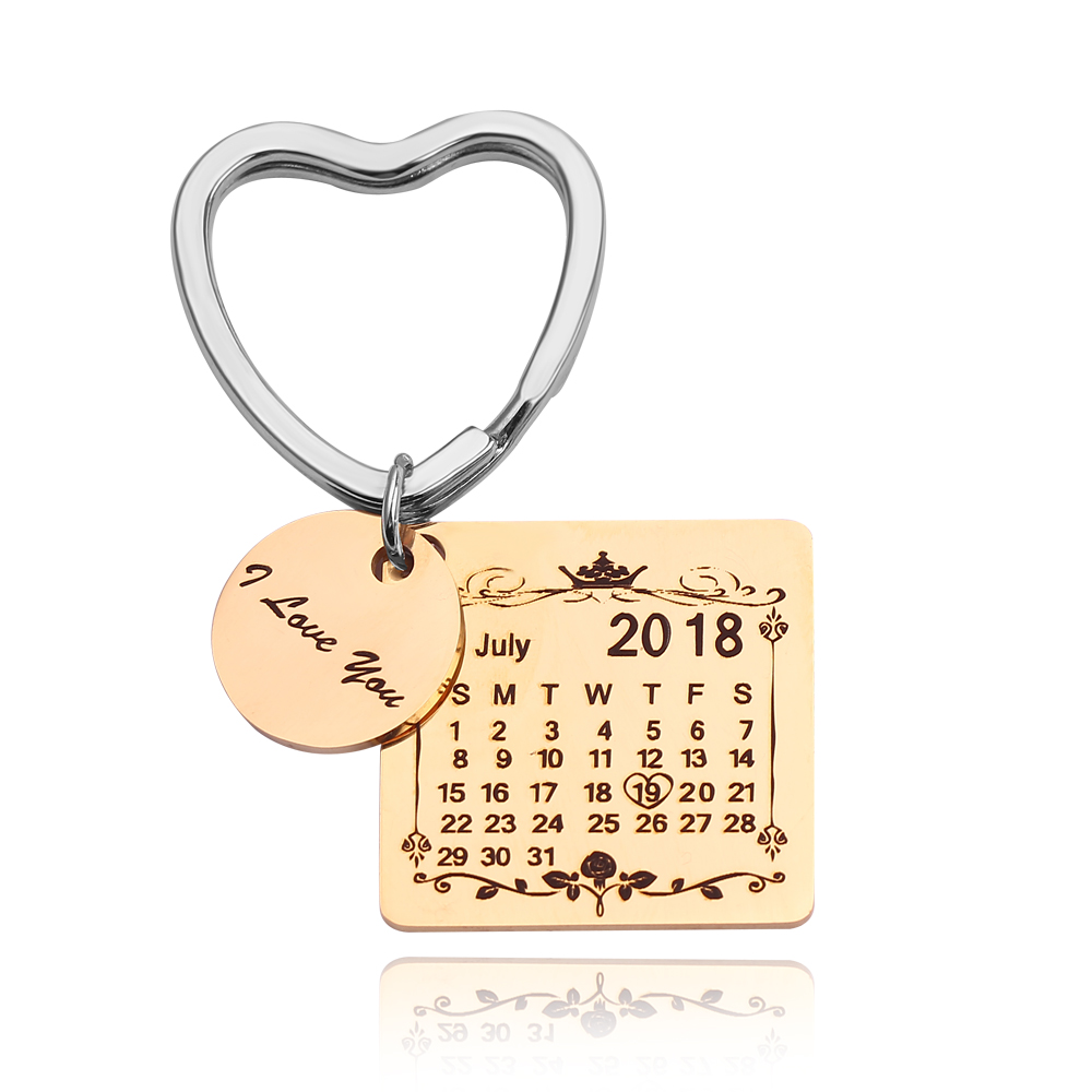 1130029525498 - Personalized Customized Engraved Calendar Date & Message Keychain, Creative Gifts for Lover,Family,Memorial Keepsake and Anniversary