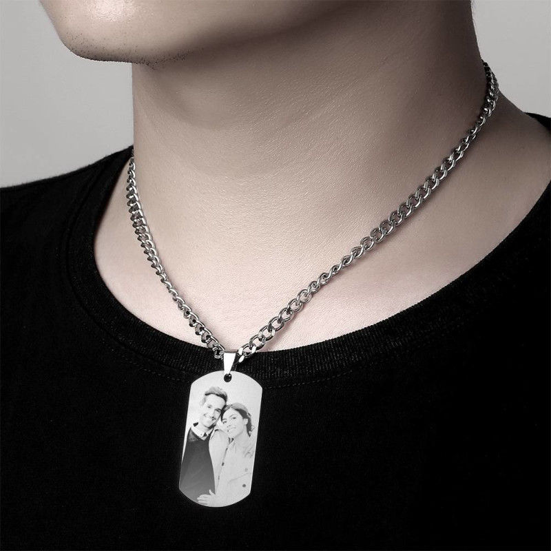 1211577433560 - Mens Necklace, Engraved Necklace, Personalized Photo Necklace Photo Dog Tag