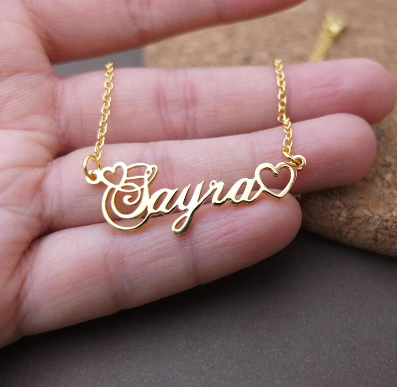 1334223892583 - Name With Double Heart Necklace