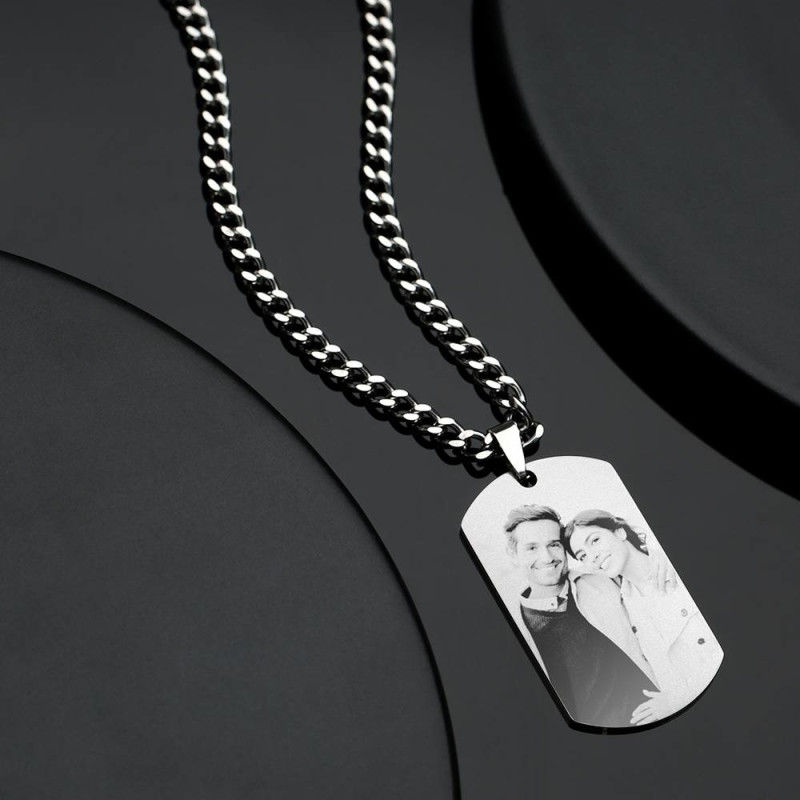 1499495489375 - Mens Necklace, Engraved Necklace, Personalized Photo Necklace Photo Dog Tag