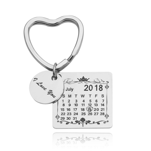 1524475056365 - Personalized Customized Engraved Calendar Date & Message Keychain, Creative Gifts for Lover,Family,Memorial Keepsake and Anniversary