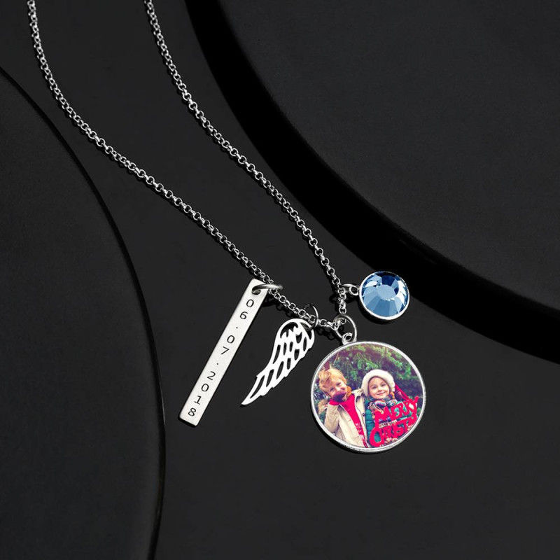 1632725686683 0 - Women's Photo Engraved Tag Necklace With Engraving Silver