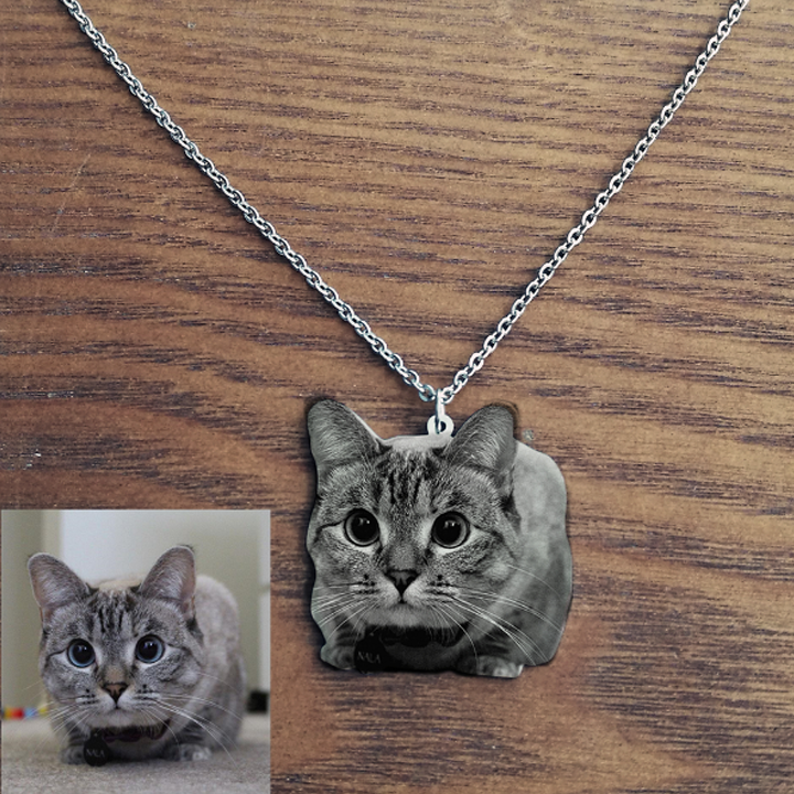 1882280529834 - 925 Sterling Silver Pets Photo Engraved Necklace Cute Cat/Dog Engraved Necklace