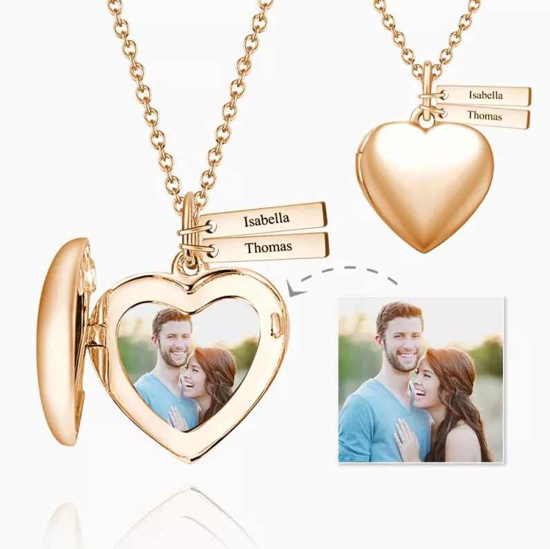 2 - Heart Photo Locket Necklace With Two Engraved Bars Platinum Plated