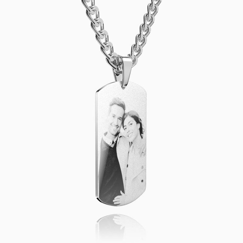 2269240986020 - Mens Necklace, Engraved Necklace, Personalized Photo Necklace Photo Dog Tag