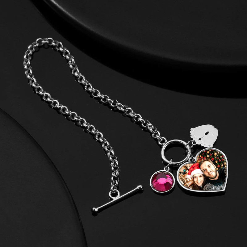 2293879398822 - Women's Heart Tag Photo Bracelet With Engraving Silver