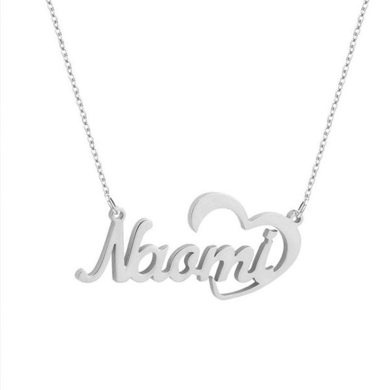 236755106367988 - Crescent Heart Name Necklace