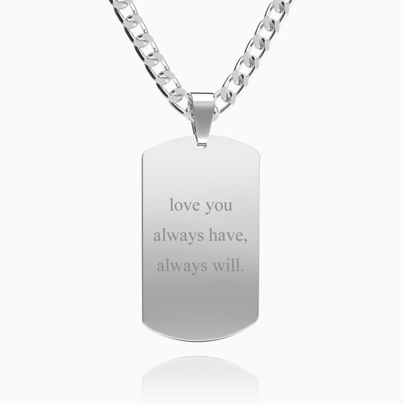 23980365017770 - Mens Necklace, Engraved Necklace, Personalized Photo Necklace Photo Dog Tag