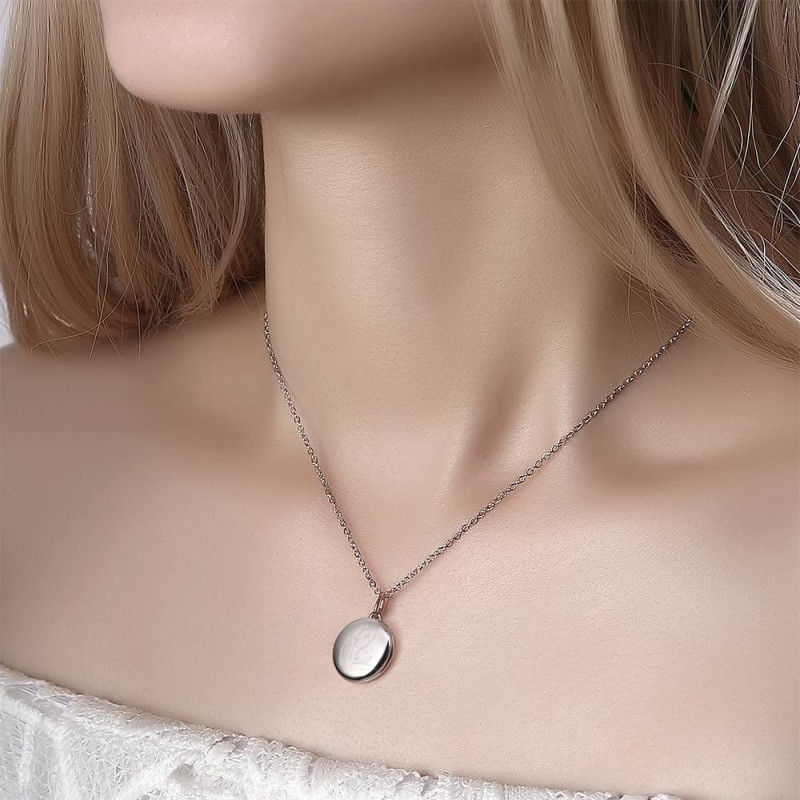 2429180721275 1 - Engraved Round Photo Locket Necklace Silver