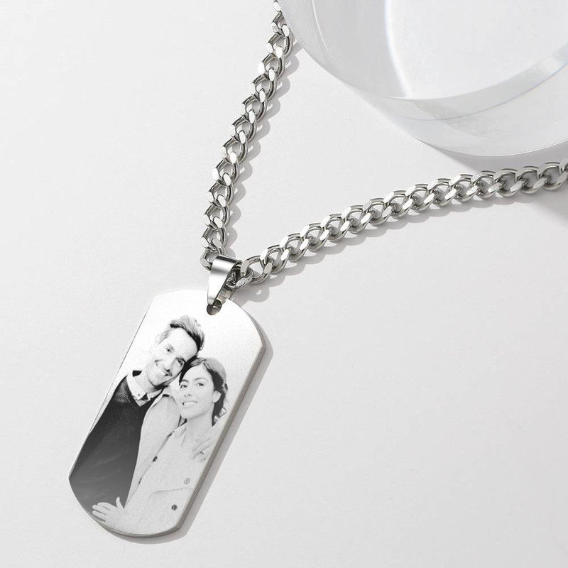 2556549625490 - Mens Necklace, Engraved Necklace, Personalized Photo Necklace Photo Dog Tag