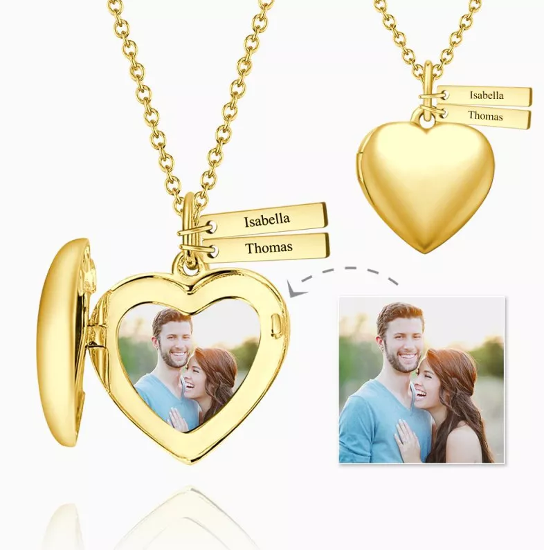 3 - Heart Photo Locket Necklace With Two Engraved Bars Platinum Plated