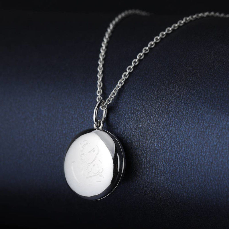 338384906610 4 - Engraved Round Photo Locket Necklace Silver