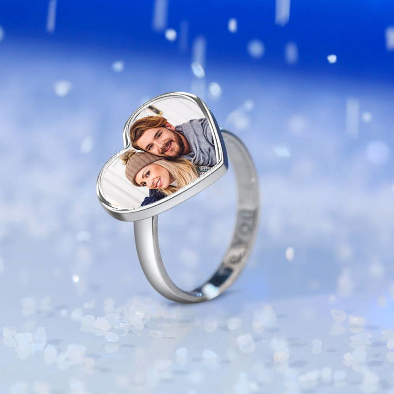 394363613656 - Women's Heart Photo Ring With Engraving Silver For Her
