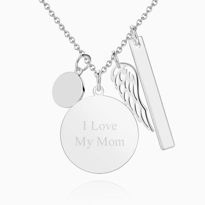 4444531342360 - Women's Photo Engraved Tag Necklace With Engraving Silver