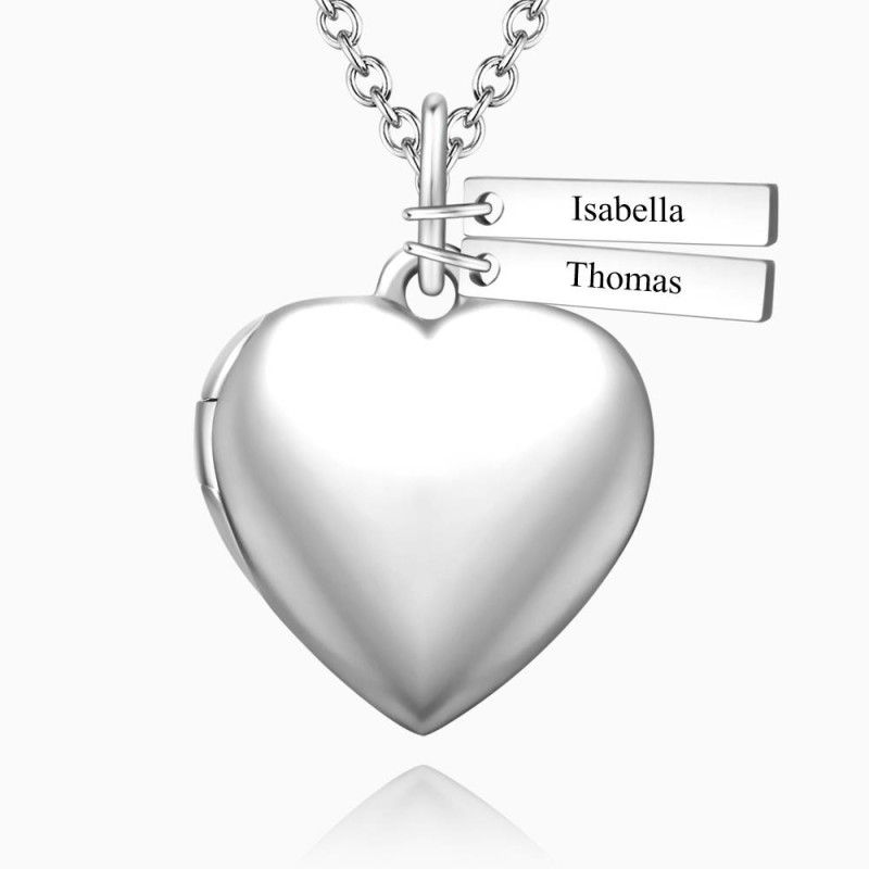 454149891740 0 - Heart Photo Locket Necklace With Two Engraved Bars Platinum Plated