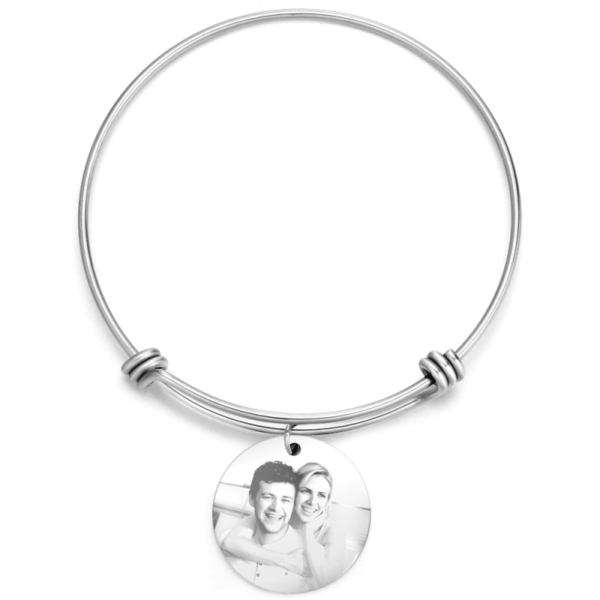 460922629820 1 600x600 - Women's Round Photo Engraved Charm Bangle Stainless Steel