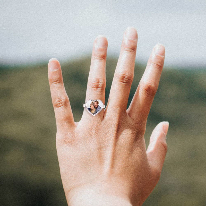 5381072200951 - Women's Heart Photo Ring With Engraving Silver For Her