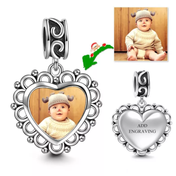 594906221753 0 600x600 - Heart Dangle Engraved Photo Charm Silver