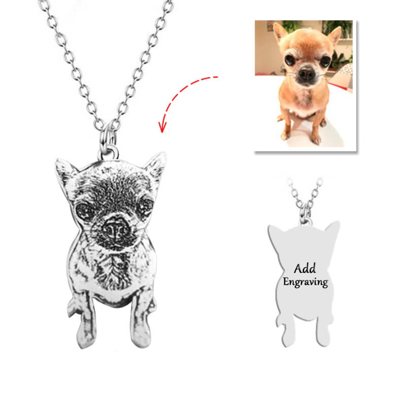 6139083087440 - 925 Sterling Silver Pets Photo Engraved Necklace Cute Cat/Dog Engraved Necklace