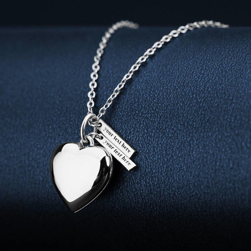 647275146939 2 - Heart Photo Locket Necklace With Two Engraved Bars Platinum Plated