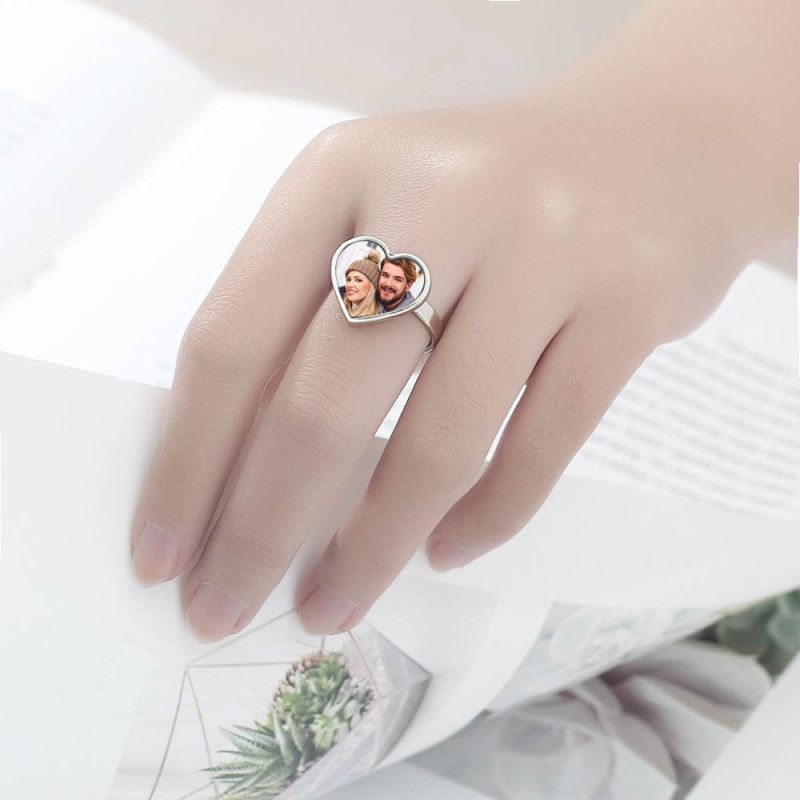 805762912157 - Women's Heart Photo Ring With Engraving Silver For Her