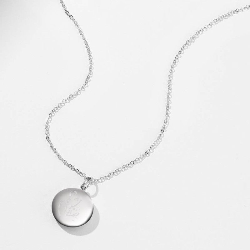 816092569080 2 - Engraved Round Photo Locket Necklace Silver
