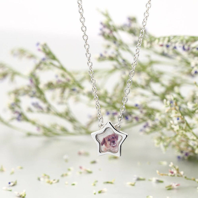 917414681820 - Star Photo Necklace Silver