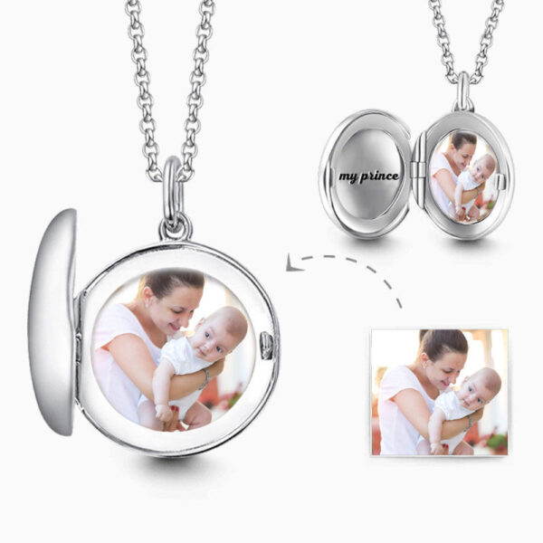 C023 600x600 - Engraved Round Photo Locket Necklace Silver