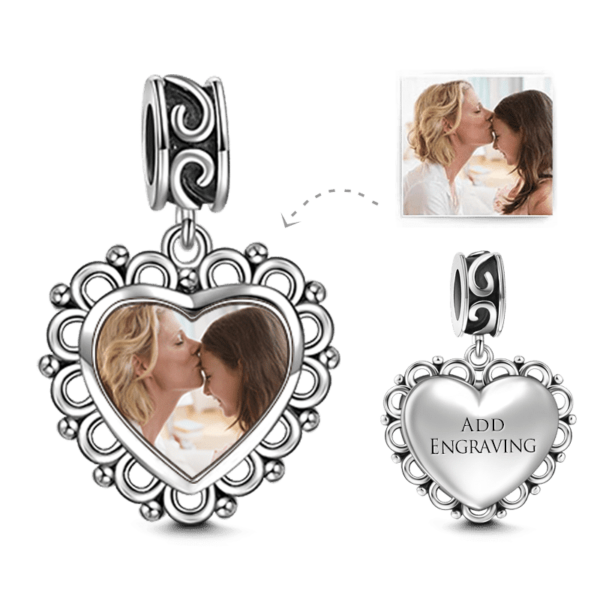 C025B 1 1 1 600x600 - Heart Dangle Engraved Photo Charm Silver