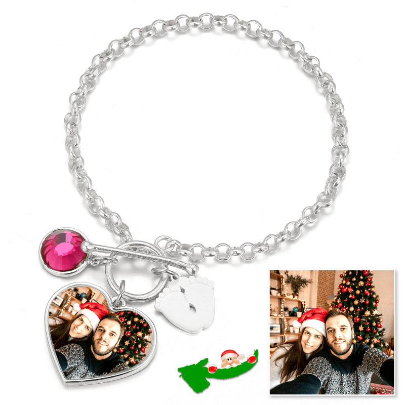 C272 - Women's Heart Tag Photo Bracelet With Engraving Silver