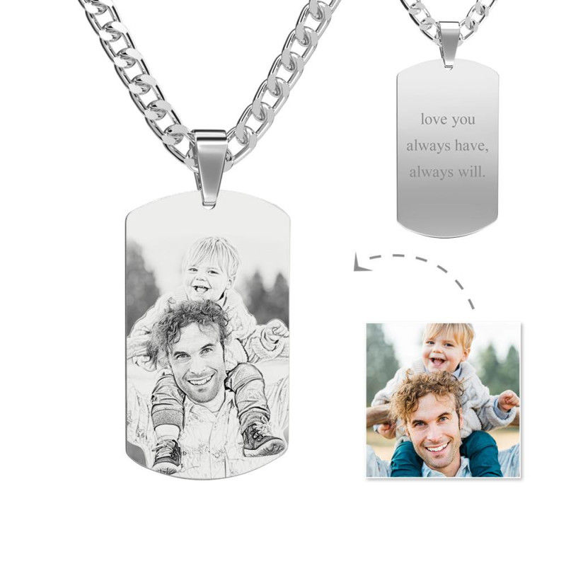 GYKNL02Z 6 1 - Mens Necklace, Engraved Necklace, Personalized Photo Necklace Photo Dog Tag