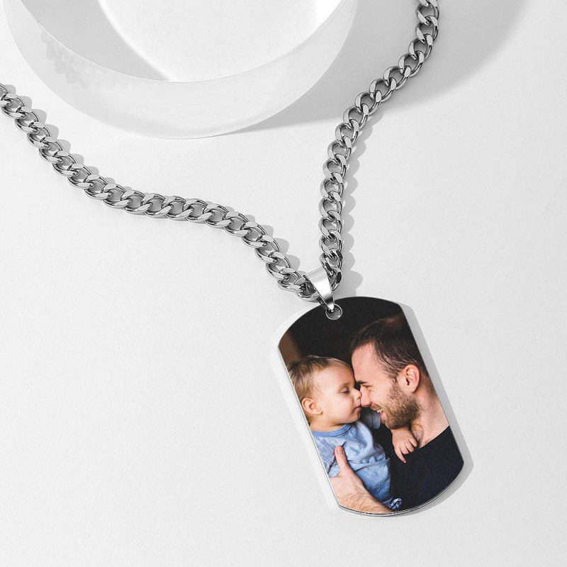 GYKNL09 3 3 - Men's Photo Dog Tag Necklace With Engraving Stainless Steel