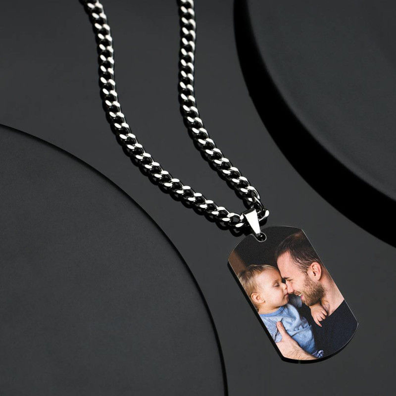 GYKNL09 4 3 - Men's Photo Dog Tag Necklace With Engraving Stainless Steel