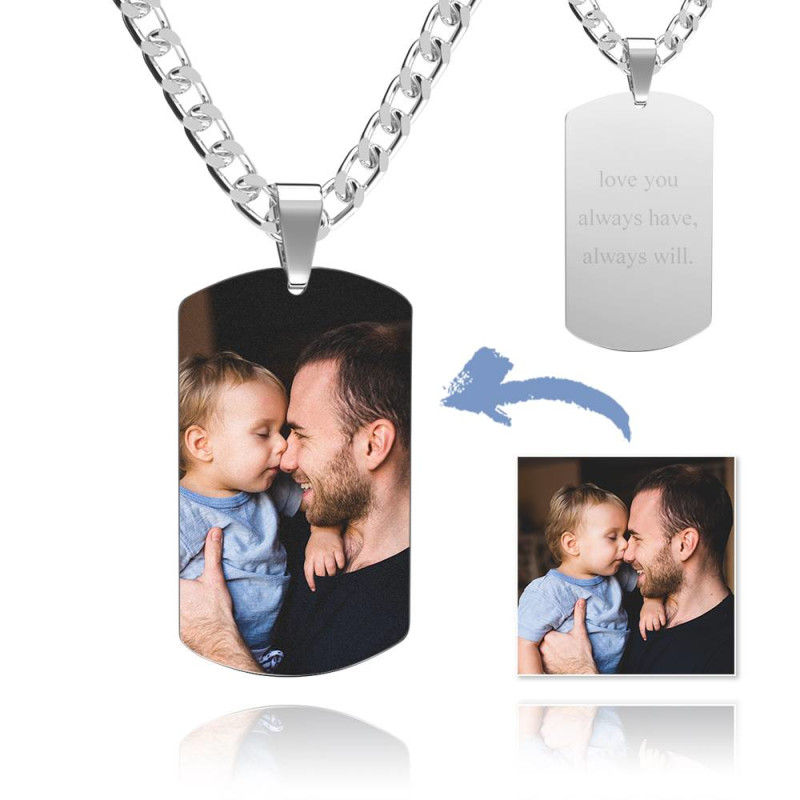 GYKNL09 9 - Men's Photo Dog Tag Necklace With Engraving Stainless Steel