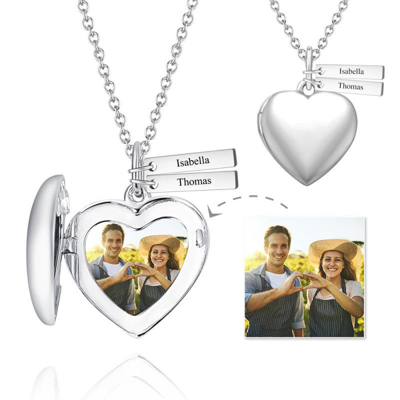 TC222A 12 - Heart Photo Locket Necklace With Two Engraved Bars Platinum Plated