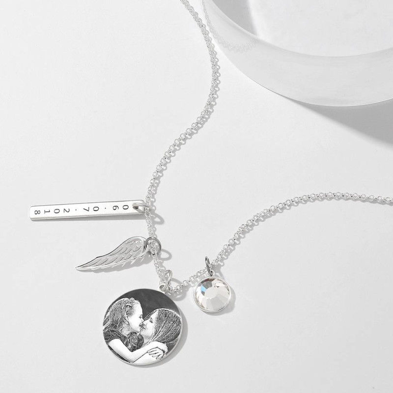 YKNL11 3 1 1 - Women's Photo Engraved Tag Necklace With Engraving Silver