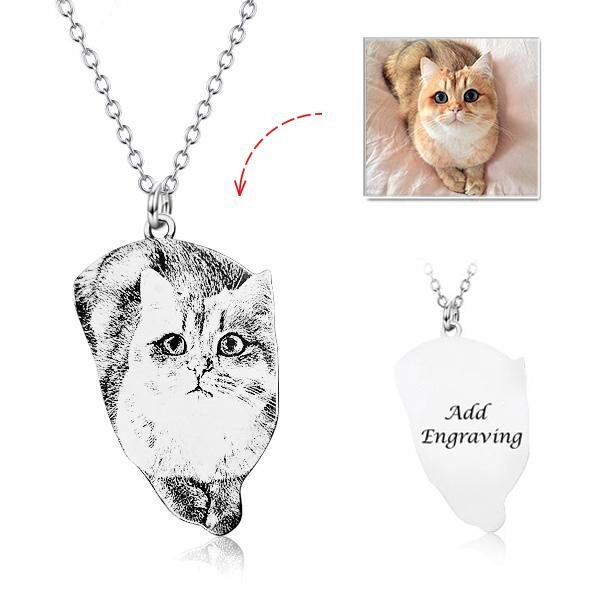 aYX0002 1 1 2 4 1024x1024 600x600 - 925 Sterling Silver Pets Photo Engraved Necklace Cute Cat/Dog Engraved Necklace