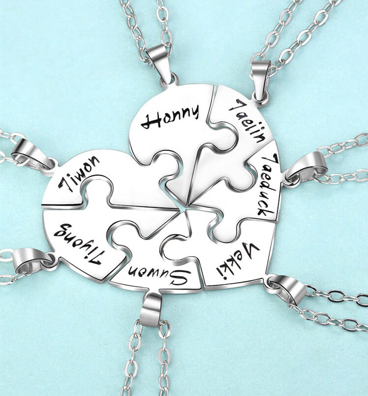 e5 1 - Personalized Puzzle Up To 7 Pieces Necklace