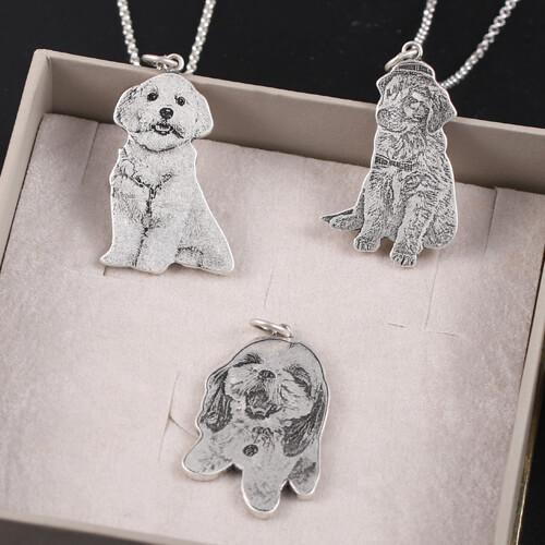 z6 1 1024x1024 - 925 Sterling Silver Pets Photo Engraved Necklace Cute Cat/Dog Engraved Necklace