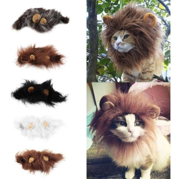 3277055318317 600x600 - Funny Pet Hat For Small Dogs Cats Hat Emulation Lion Hair Mane Ears Head Cap Scarf Pet Halloween Festival Costume
